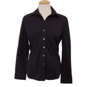 Talbots Black Stretch Cotton Button Shirt- Sz. 12P